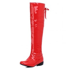 Women's Leatherette Chunky Heel Pumps Closed Toe Boots Knee High Boots shoes