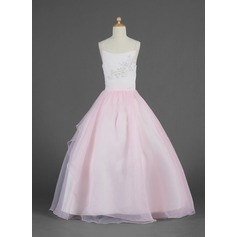 Ball Gown Floor-length Flower Girl Dress - Organza Sleeveless Scoop Neck With Lace/Beading/Sequins