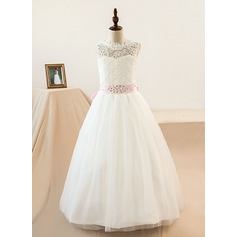 A-Line/Princess Floor-length Flower Girl Dress - Tulle/Lace Sleeveless Scoop Neck With Sash/Beading/Bow(s) (Petticoat NOT included) (010104225)