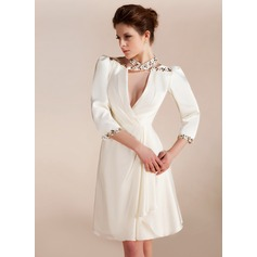 A-Line/Princess Halter Knee-Length Satin Chiffon Cocktail Dress With Ruffle Beading (016019692)