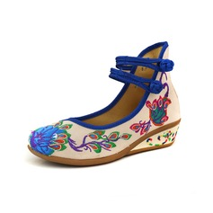 Women's Cloth Wedge Heel Flats Closed Toe With Applique Buckle shoes (086094939)