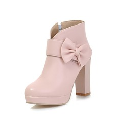 Leatherette Chunky Heel Ankle Boots With Bowknot shoes