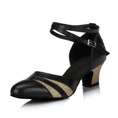 Women's Real Leather Heels Sandals Modern With Ankle Strap Dance Shoes