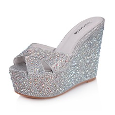 Leatherette Sparkling Glitter Wedge Heel Sandals Platform Peep Toe Slippers With Rhinestone shoes