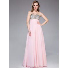 Empire Scoop Neck Floor-Length Chiffon Prom Dress With Ruffle Beading