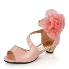 Baby's Leatherette Low Heel Peep Toe Sandals With Flower
