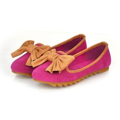 Leatherette Flat Heel Closed Toe Flats With Bowknot (086026216)