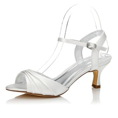 Women's Satin Low Heel Sandals Slingbacks Dyeable Shoes