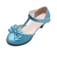 Kids' Sparkling Glitter Flat Heel Closed Toe With Bowknot