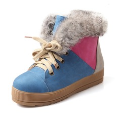 Suede Flat Heel Flats Closed Toe Ankle Boots Snow Boots With Bowknot Satin Flower Ribbon Tie shoes