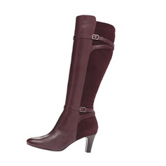 Women's Leatherette Stiletto Heel Pumps Closed Toe Boots Knee High Boots With Buckle shoes