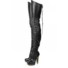 Konstläder Stilettklack Plattform Over The Knee Boots med Zipper skor (088030235)