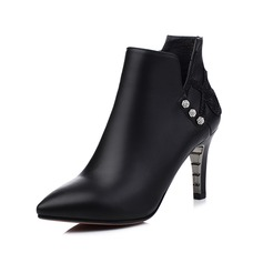 Women's Leatherette Stiletto Heel Closed Toe Ankle Boots shoes