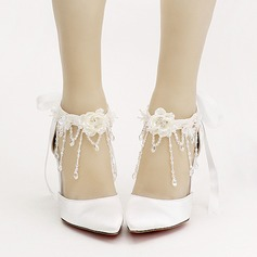 Women's Leatherette Stiletto Heel Closed Toe Pumps With Bowknot Flower Crystal