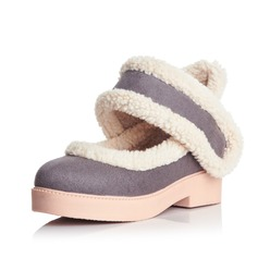 Women's Suede Low Heel Flats Closed Toe shoes