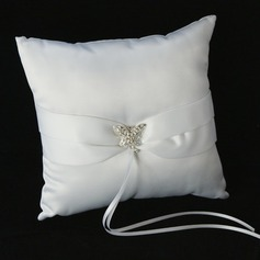 Ring Pillow in Satin With Sash Rhinestones