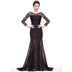 Trumpet/Mermaid Scoop Neck Sweep Train Chiffon Lace Evening Dress