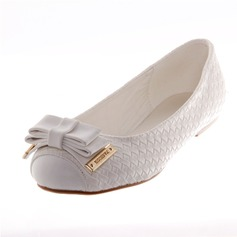 Leatherette Flat Heel Flats Closed Toe With Bowknot shoes