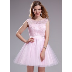 A-Line/Princess Scoop Neck Short/Mini Tulle Lace Prom Dress With Ruffle Beading Sequins Bow(s)
