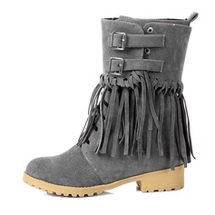 Women's Suede Chunky Heel Pumps Platform Closed Toe Boots Ankle Boots shoes