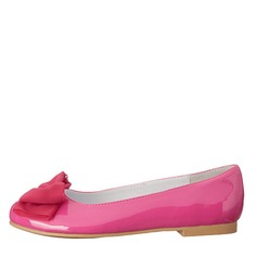 Girl's Leatherette Flat Heel Closed Toe Pumps With Bowknot