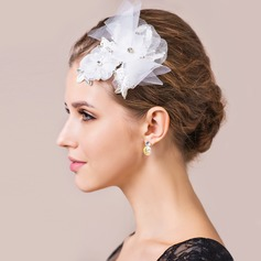 Pretty Rock Crystal Quartz Lace Tulle Barrettes