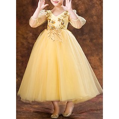 A-Line/Princess Ankle-length Flower Girl Dress - Organza 3/4 Sleeves V-neck With Flower(s)/Bow(s)/V Back