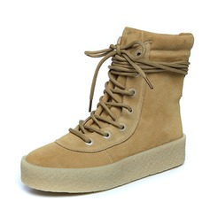 Women's Real Leather Low Heel Boots Ankle Boots With Lace-up shoes