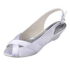 Women's Satin Wedge Heel Peep Toe Sandals Slingbacks Wedges With Buckle