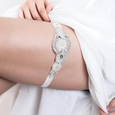 Gorgeous Elastics With Rhinestones Imitation Pearls Wedding Garters