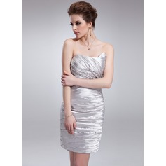 Sheath/Column Sweetheart Short/Mini Charmeuse Cocktail Dress With Ruffle Beading