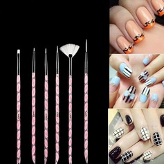 6Pcs Artificial Fibre Nail Brushes With Acrylic Handle
