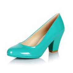Leatherette Chunky Heel Pumps Closed Toe shoes