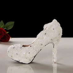 Women's Lace Stiletto Heel Closed Toe Pumps With Imitation Pearl