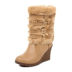 Women's Leatherette Wedge Heel Pumps Closed Toe Boots Mid-Calf Boots shoes