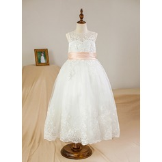 Ball Gown Tea-length Flower Girl Dress - Satin/Tulle Sleeveless Scoop Neck With Appliques/Bow(s)/Back Hole