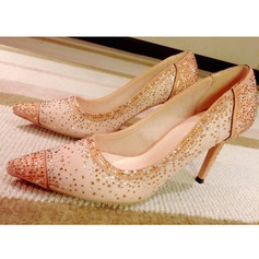 Women's Lace Stiletto Heel Closed Toe Pumps With Rhinestone Hollow-out Lace-up Split Joint