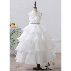 Ball Gown Ankle-length Flower Girl Dress - Organza/Satin Sleeveless Scoop Neck With Ruffles/Sash/Rhinestone