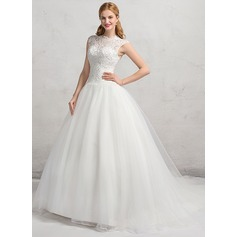 Ball-Gown Scoop Neck Chapel Train Organza Lace Wedding Dress With Beading Sequins