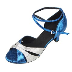 Women's Sparkling Glitter Patent Leather Heels Sandals Pumps Latin With Ankle Strap Dance Shoes