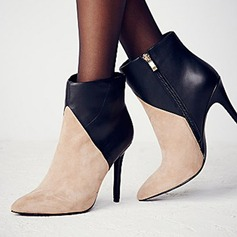 Women's Patent Leather Stiletto Heel Boots With Ruffles shoes
