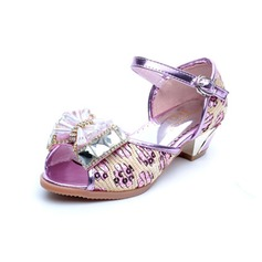 Kids' Leatherette Low Heel Flats Peep Toe With Bowknot