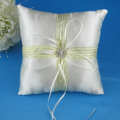 Ring Pillow in Satin With Ribbons Rhinestones