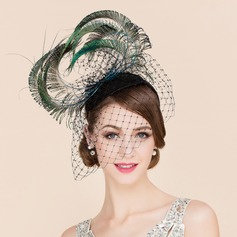Ladies' Luxurious Tulle With Feather Fascinators