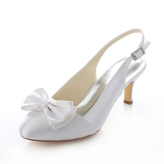 Women's Satin Stiletto Heel Pumps Slingbacks With Bowknot