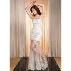 Trumpet/Mermaid Sweetheart Floor-Length Tulle Prom Dress With Beading Appliques Lace