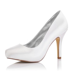 Women's Satin Stiletto Heel Closed Toe Pumps Dyeable Shoes