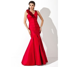 Trumpet/Mermaid V-neck Floor-Length Taffeta Evening Dress With Ruffle Flower(s)