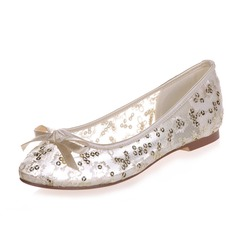 Women's Lace Flat Heel Closed Toe Flats With Bowknot Sequin