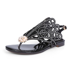 Women's Real Leather Flat Heel Sandals Slingbacks With Rhinestone shoes